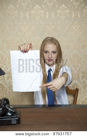 Business Woman Showing Where To Sign A Contract