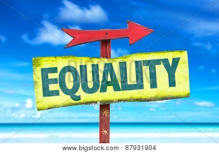 Equality sign with beach background