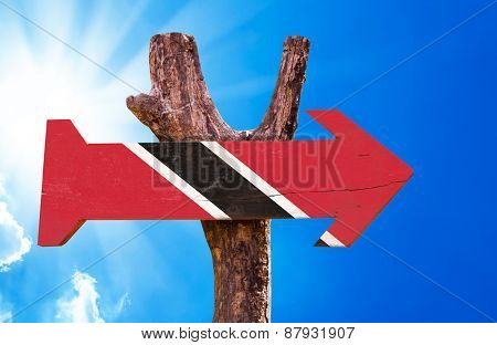 Trinidad and Tobago Flag wooden sign with sky background