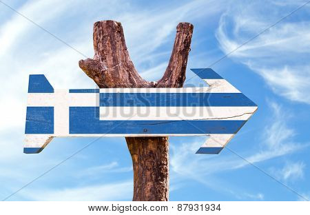 Greece Flag wooden sign with sky background