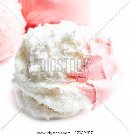 Strawberry Ice Cream Macro. Beautiful Ice-cream Balls Close Up.