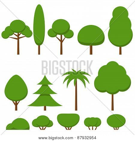 Set of flat green tree and bushes