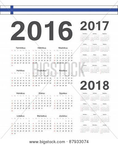 Set Of Finnish 2016, 2017, 2018 Year Vector Calendars