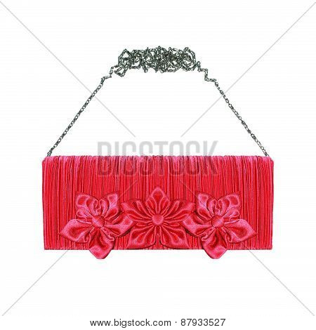 Female Pink Clutch Handbag With Roses Flowers Isolated On A White Background