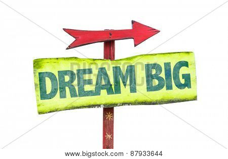 Dream Big sign isolated on white