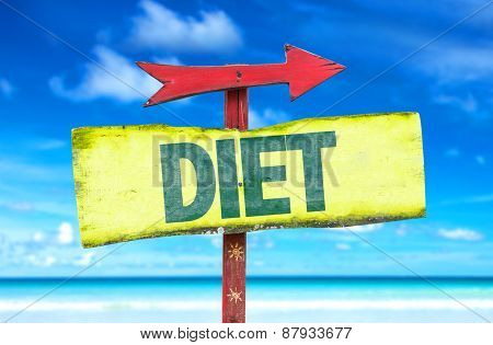 Diet sign with beach background