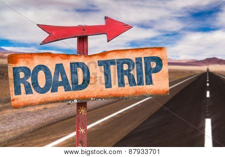 Road Trip sign with road background