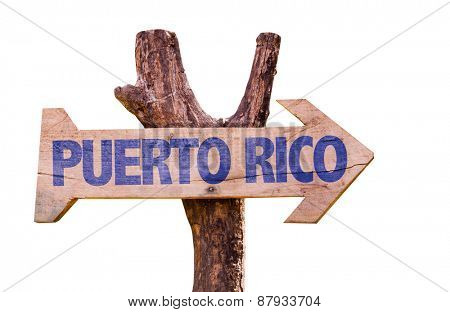 Puerto Rico wooden sign isolated on white background