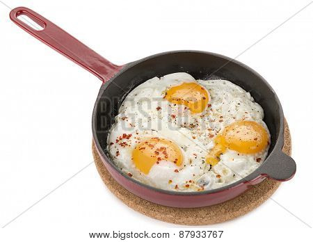 Fried Egg in Iron Pan from above