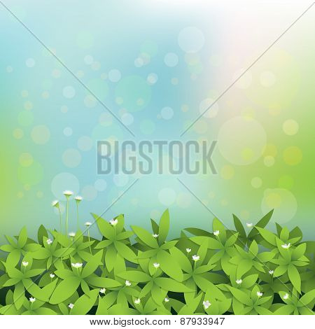 Seamless Green Leaves With Little White Flower Background