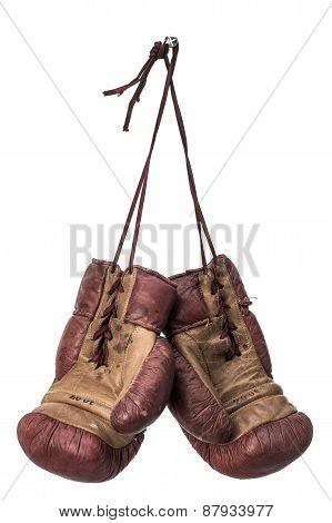 Isolated Retro Boxing Gloves
