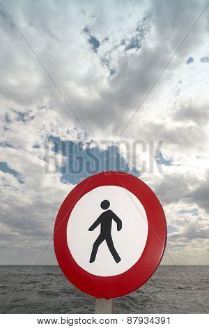 Pedestrian Signal In A Mediterranean Coastine Landscape. Alicante, Spain
