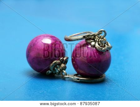 Big Silver Earrings With Purple Stone
