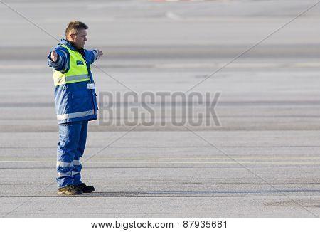 Airport Worker Runway Airplane