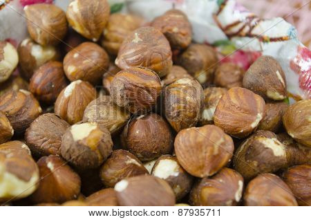 Bunch Of Raw Hazelnuts