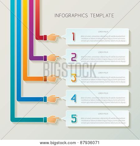 Abstract Vector 5 Steps Infographic Template In 3D Style For Layout Workflow Scheme, Numbered Option