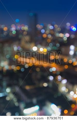 Defocused background, City light blur bokeh,  during blue hours
