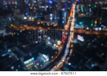 Abstract blur bokeh background of main junction traffic lights