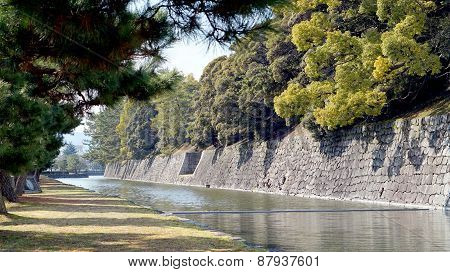 Canal Around Nijo Castle In Kyoto Japan