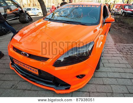 Bright Orange Sporty Styled Ford Focus Car