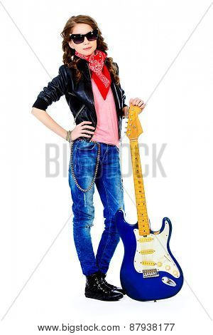 Cute teen girl posing with her electric guitar. Isolated over white.