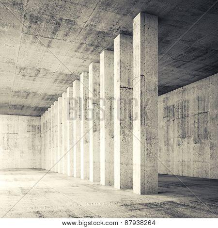 3D Square Empty Interior With Concrete Walls And Columns