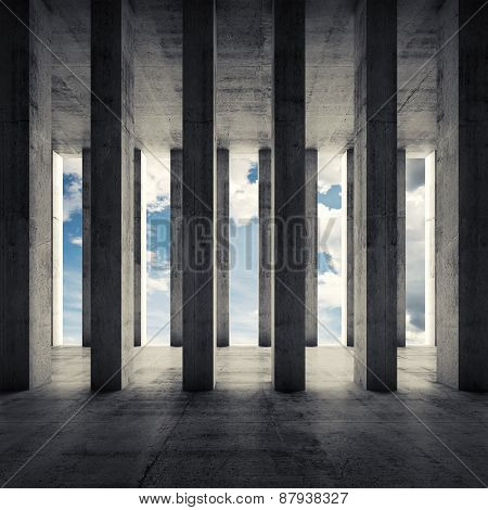 Abstract Architecture 3D, Empty Interior With Columns