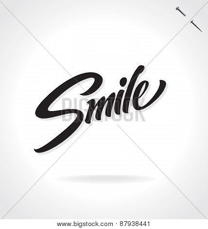 SMILE hand lettering - handmade calligraphy, vector