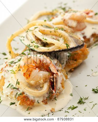Potato Pancake with Seafood and Cream Sauce