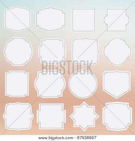 set of elegance blank grey labels with border on blurred background