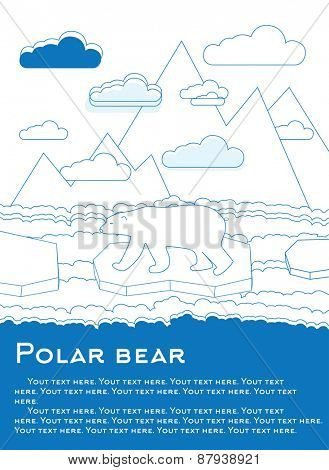 Polar bear on an ice floe in ocean Possible result of global warming illustration for magazines or newspapers