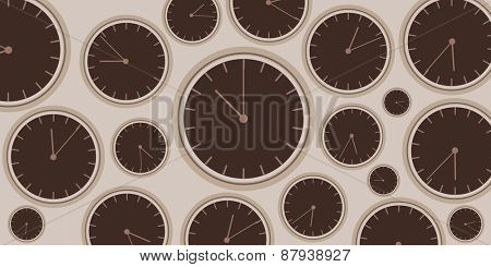 Clock background illustration with group of brown clocks
