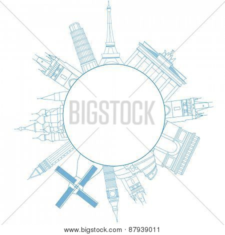 illustration of travel famous monuments of Europe and place for text