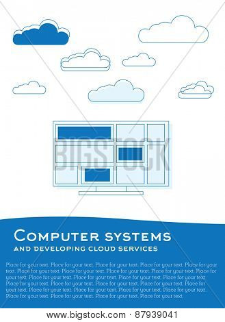 illustration with computer and clouds made from blue lines and plce for text