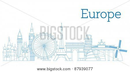 Europe skyline detailed silhouette Outline version