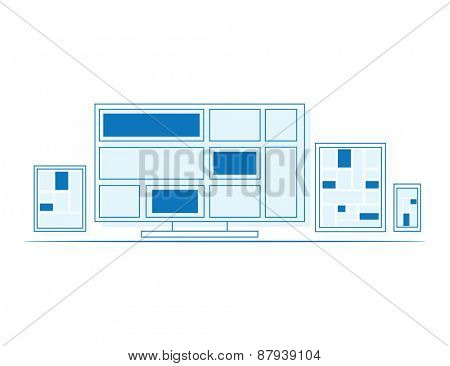 Set of outline design display, laptop, tablet computer and mobile phone template