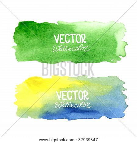 Vector watercolor banners. Abstract background with watercolors