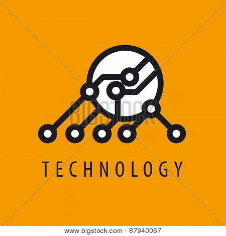 Vector Logo Abstraction Chip On Yellow Background