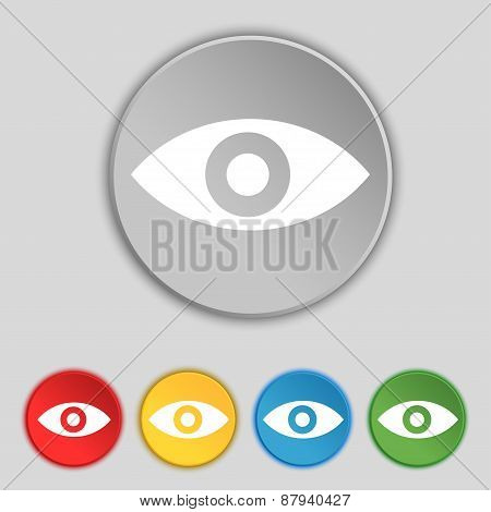 Eye, Publish Content, Sixth Sense, Intuition Icon Sign. Symbol On Five Flat Buttons. Vector