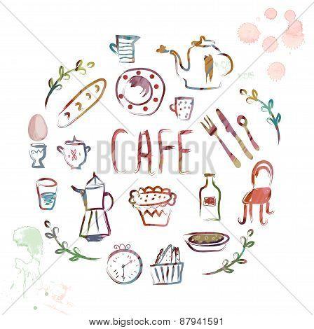 Cafe Design Elements - Watercolor