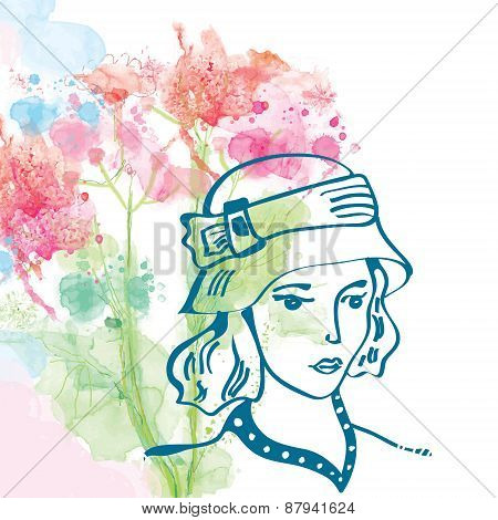 Retro Card With Girl In Hat And Floral Background - Watercolor Style
