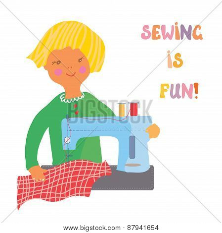 Sewing Girl - Cute Illustration