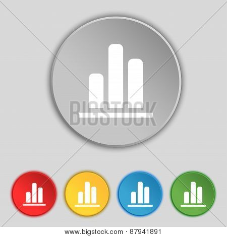 Growth And Development Concept. Graph Of Rate Icon Sign. Symbol On Five Flat Buttons. Vector