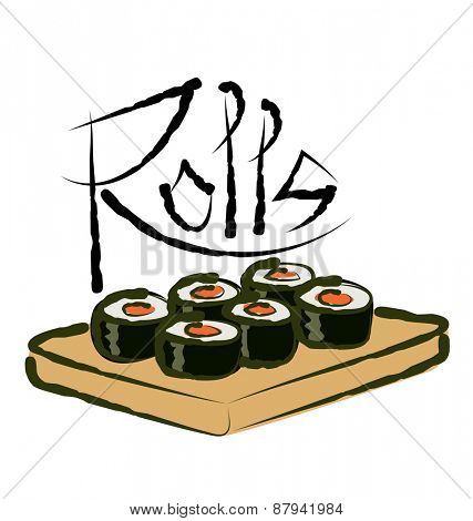 vector sushi rolls with calligraphic inscription