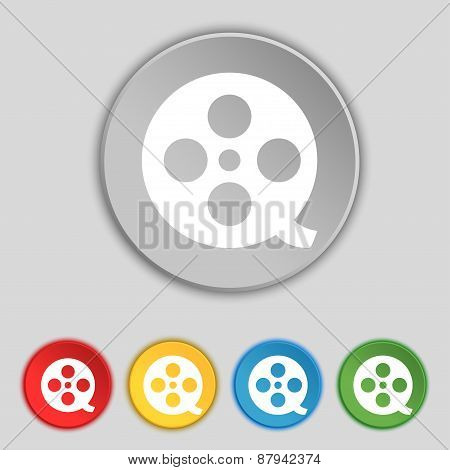Film Icon Sign. Symbol On Five Flat Buttons. Vector