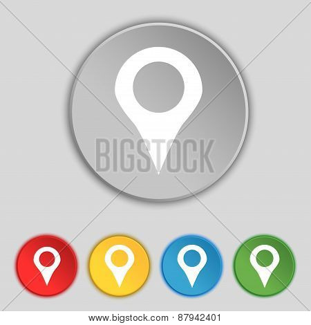 Map Pointer, Gps Location Icon Sign. Symbol On Five Flat Buttons. Vector