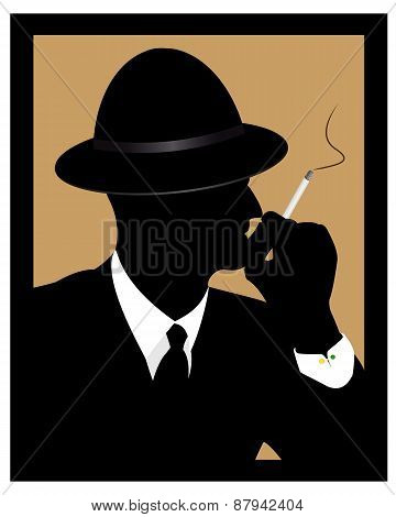 A Man Smokes A Cigarette