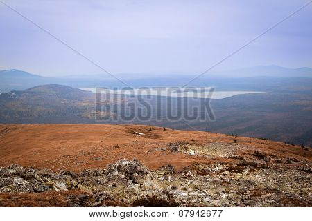 The View From The Large Nurgush On Mountain Lake Zyuratkul, Russia, National Park