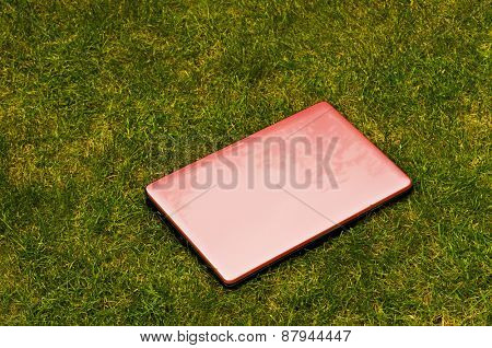 Pink laptop outside