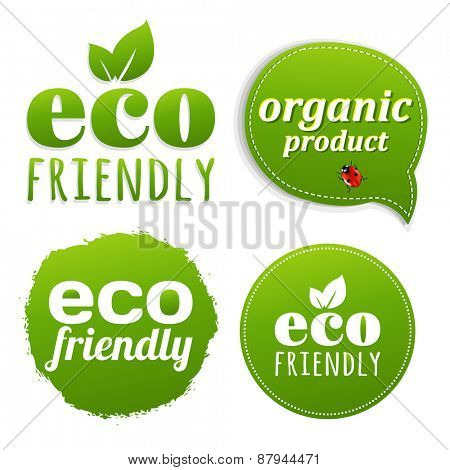 Ecology Green Labels With Gradient Mesh, Vector Illustration